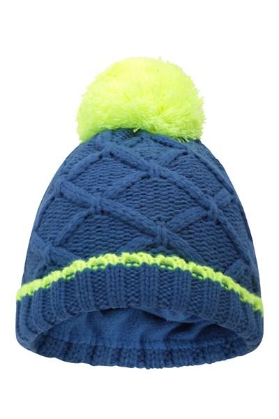 Kids Space Dye Fleece Lined Beanie - Blue