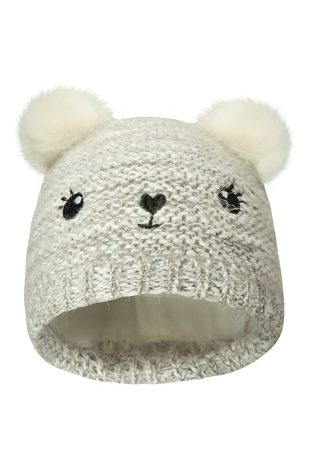 028724 BEAR KIDS FLEECE LINED POM POM  BEANIE