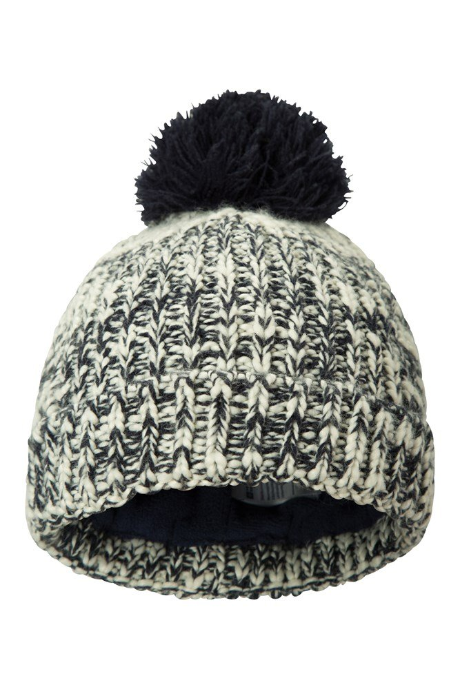 Twisted Knitted Kids Fleece Lined Beanie - Navy