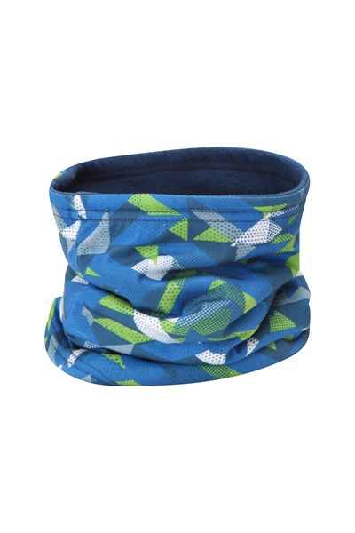 Kids Fleece Lined Printed Neck Gaiter - Blue