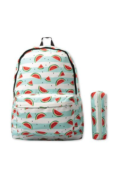 Canvas Printed Backpack with Pencil Case - Red