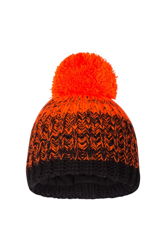 Fleece Lined Kids Knitted Beanie - Orange