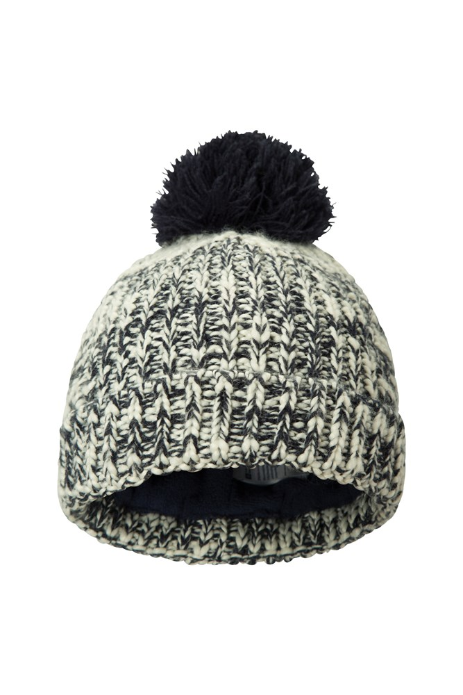 Twisted Fleece Lined Kids Beanie - Navy