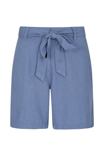 Ocean Linen-Blend Womens Shorts - Blue