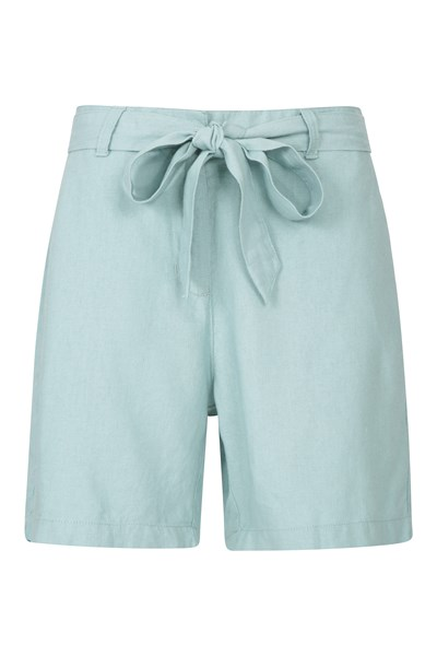 Ocean Linen-Blend Womens Shorts - Green