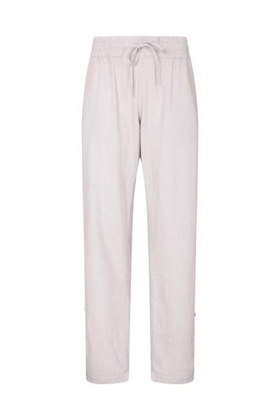 Breeze Linen-Blend Womens Trousers - Beige