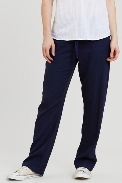 Breeze Linen-Blend Womens Trousers - Navy