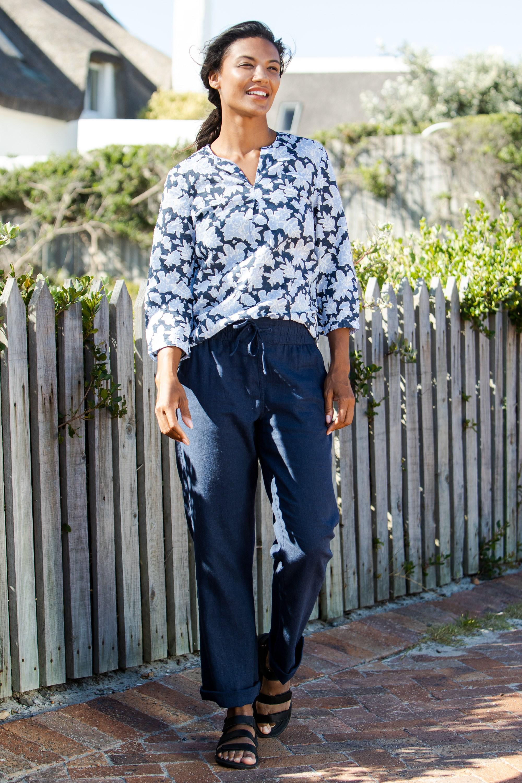 Breeze Linen-Blend - spodnie damskie - Navy