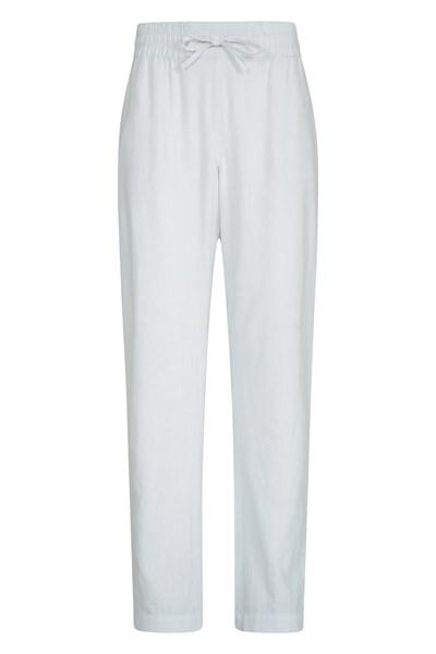 Breeze Linen-Blend Womens Trousers - White