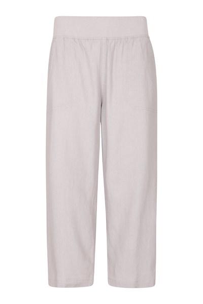 Skye Linen Blend Womens Capri Trousers - Grey