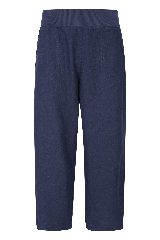 Skye Linen Blend - spodnie damskie - Navy