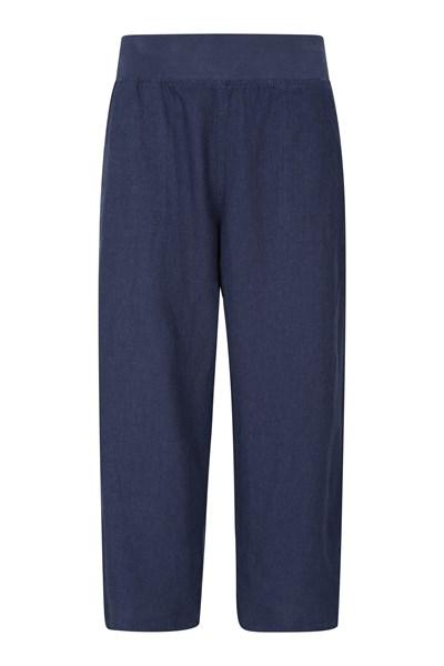Skye Linen Blend Womens Capri Trousers - Navy