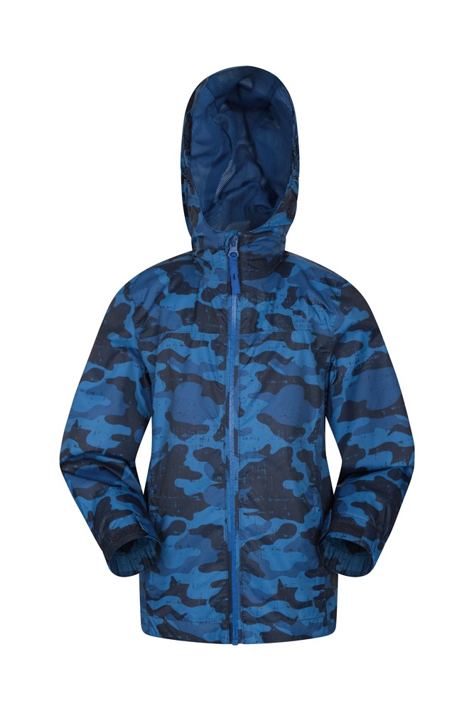 Torrent Printed Kids Waterproof Jacket - Navy