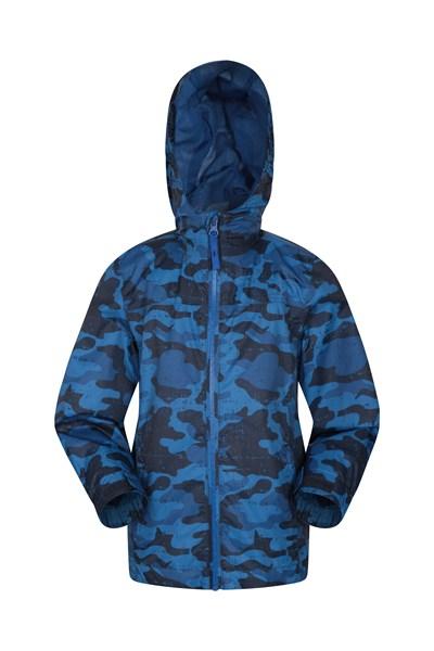 Torrent Printed Kids Waterproof Jacket - Navy