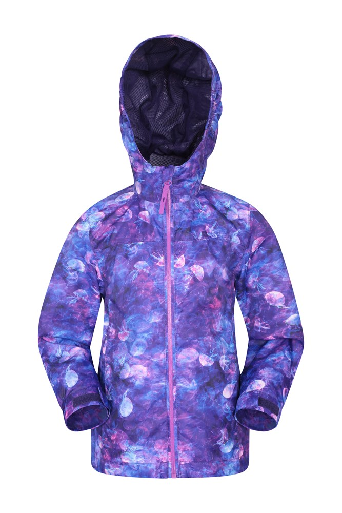 Torrent Printed Kids Waterproof Jacket - Purple