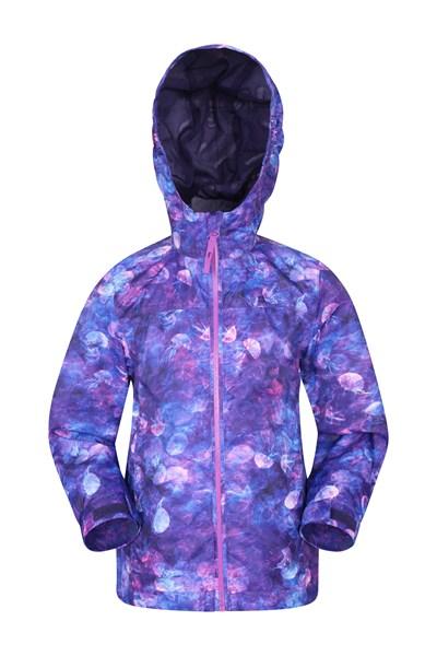 Torrent Printed Kids Waterproof Jacket - Purple