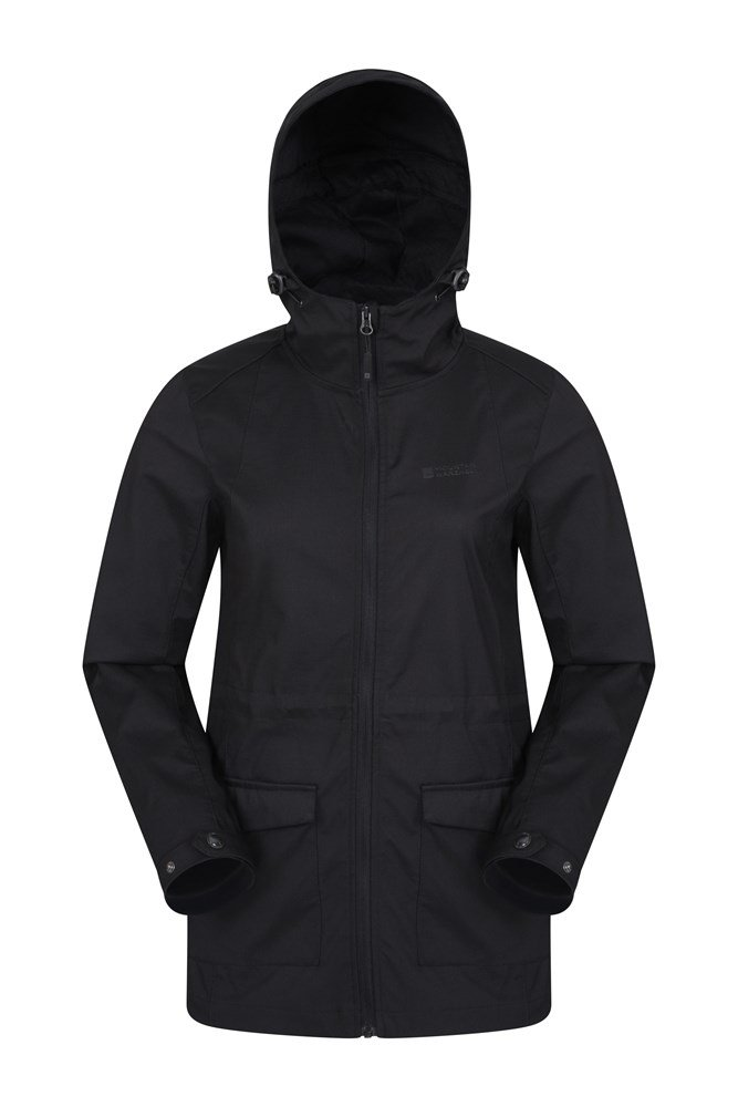 Pines Womens Long Softshell Jacket - Black