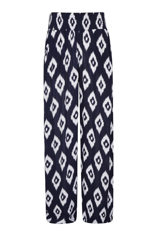 Womens Printed Beach Trousers - Navy