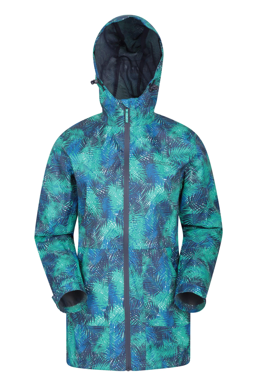 Torrent Printed Long Womens Waterproof Jacket - Navy