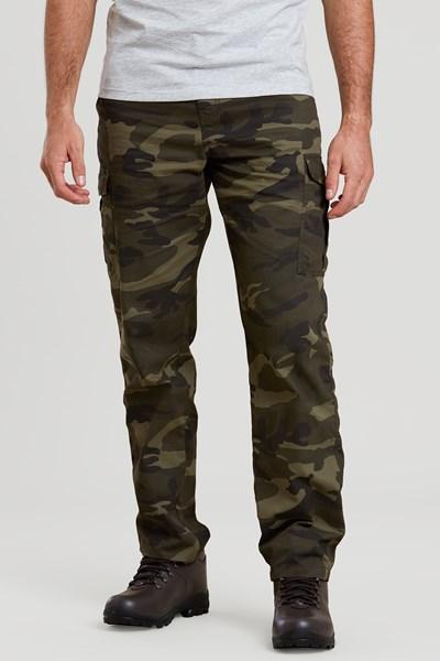 Lakeside Camo Mens Cargo Trousers - Green