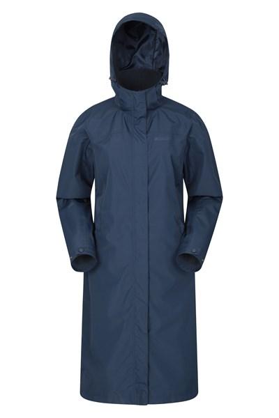 Tornado Extra-Long Womens Waterproof Jacket - Navy