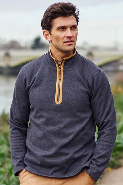 Beta Contrast Mens Zip-Neck Top - Grey