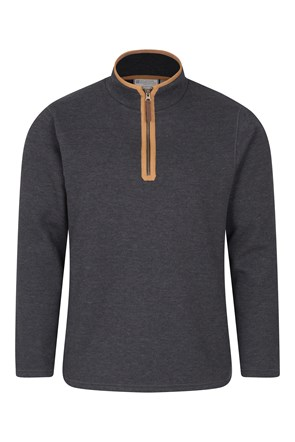 Beta Contrast Mens Zip-Neck Top