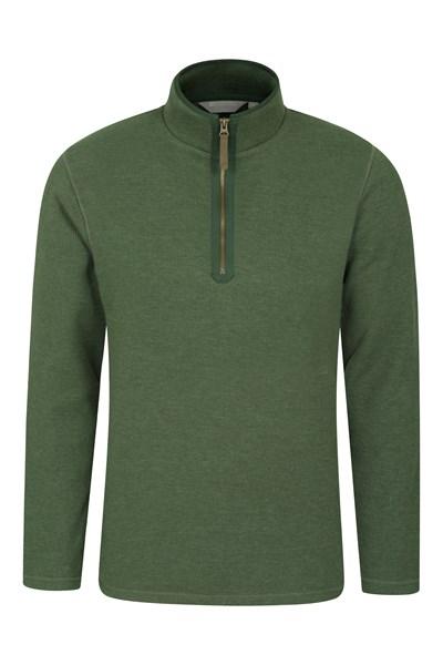 Beta Contrast Mens Zip-Neck Top - Green