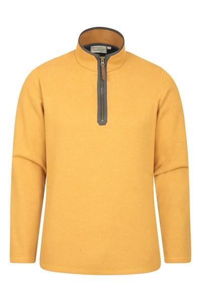 Beta Contrast Mens Zip-Neck Top - Yellow