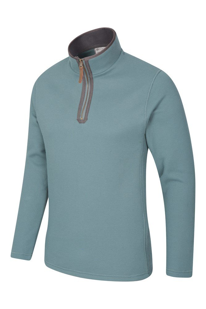 Mountain Warehouse Beta Mens Zip Neck Top Warm Microfleece Lining Half Zip Sweater Lightweight Camping Hiking Ideal for Cold Weather