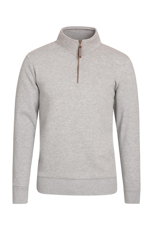 Zip Neck Mens Top - Grey