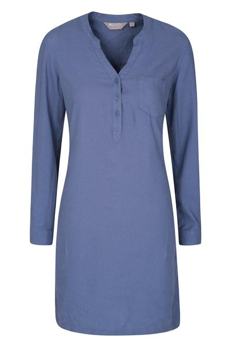 030074 ANTIGUA LINEN BLEND WOMENS SHIRT DRESS