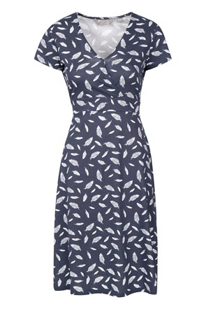 Athens Patterned Jersey Womens Wrap Dress