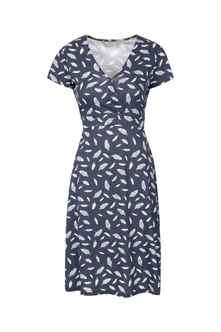 030076 ATHENS WRAP PATTERNED WOMENS UV PROTECTIVE JERSEY DRESS