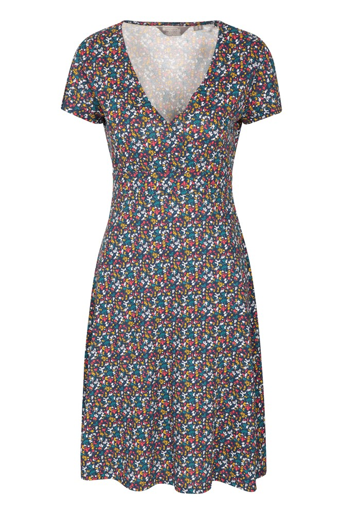 Athens Patterned Jersey Womens Wrap Dress - Navy