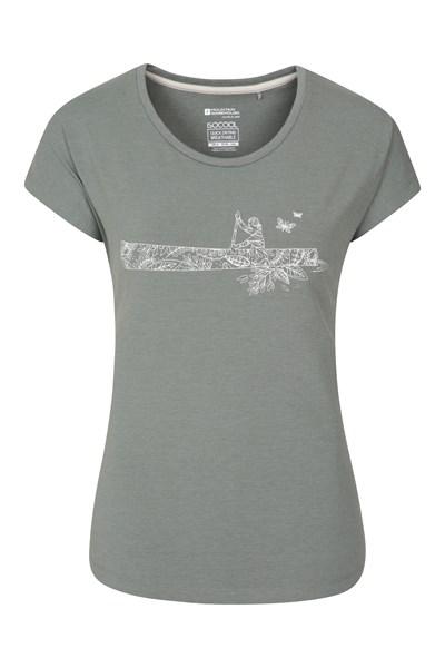 Canoe Printed Womens T-Shirt - Green