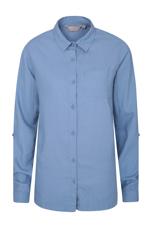 Lounge Womens Long Linen Shirt - Blue