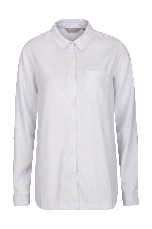 Lounge Langes Damen Leinen-Shirt - Weiss