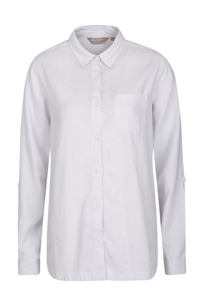 Lounge Womens Long Linen Shirt - White