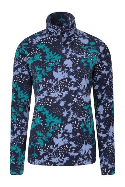 Devon Printed Womens Fleece - Dark Blue