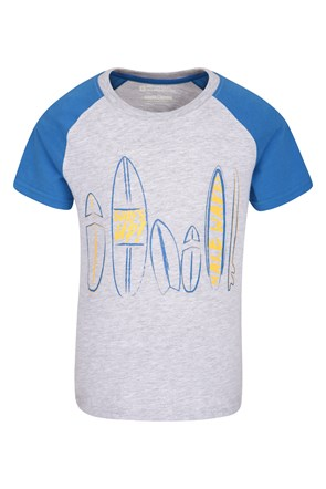 Surfboard Raglan Sleeve Kids Tee