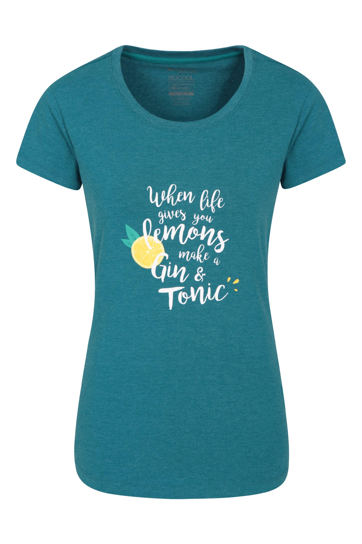 Gin & Tonic Bedrucktes Damen T-Shirt - Dunkel Türkis