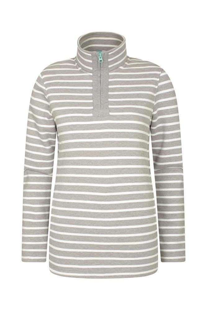 Kelso Stripe Half-Zip Womens Top - Grey