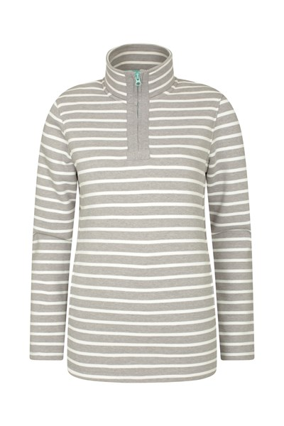 Kelso Stripe Half-Zip Womens Top - Grey