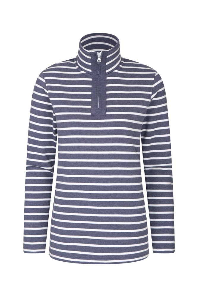 Kelso Stripe Half-Zip Womens Top - Navy