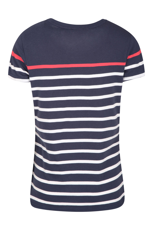 Dover Gestreiftes Damen T-Shirt - Marineblau