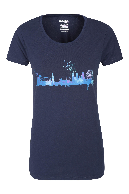 London Skyline Damen T-Shirt - Marineblau