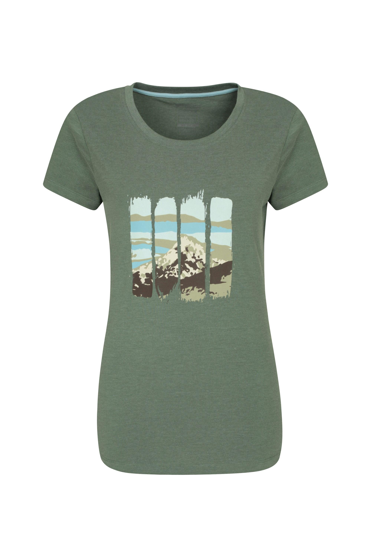 Mountain Bedrucktes Damen T-Shirt - Khaki