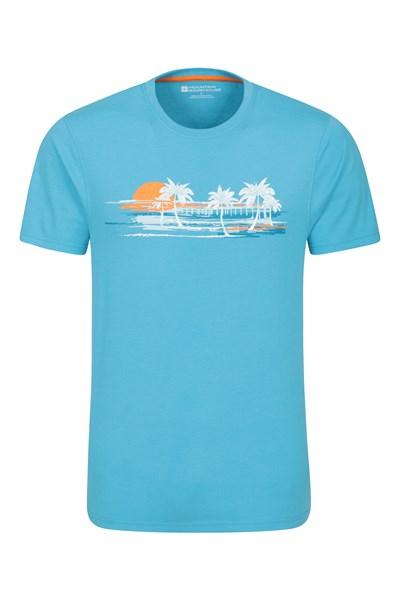 Tropical Palm Mens T-Shirt - Blue
