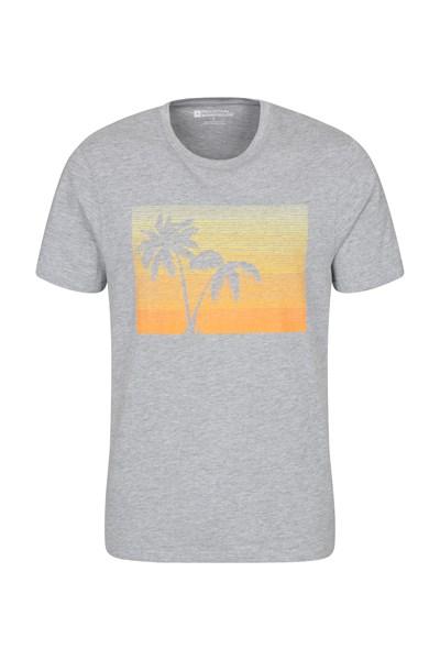 Tropical Palm Mens T-Shirt - Grey